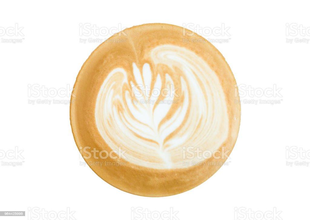 Hot coffee latte art isolated white background. - Royalty-free Art Stock Photo