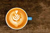 Hot Coffee latte with beautiful latte art