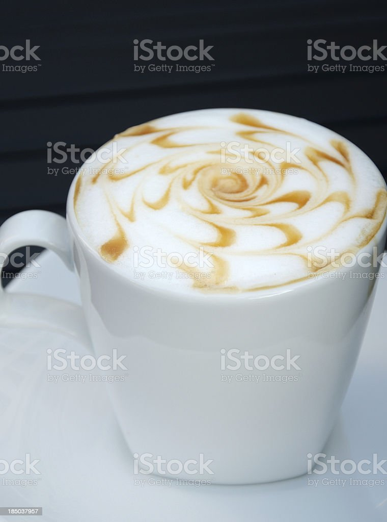 Hot coffee on table in cafe royalty-free stock photo