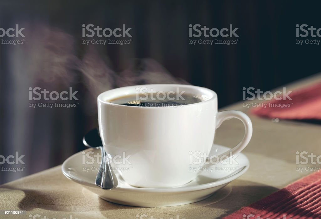 Hot coffee on the table stock photo