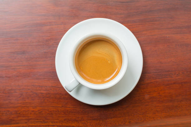 Hot coffee on wood background. stock photo