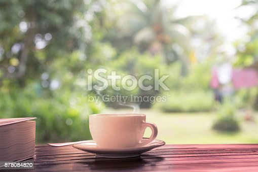 istock hot coffee on wooden table at backyard at morning light 878084820