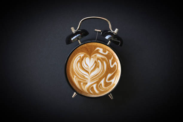 Hot Coffee Retro Alarm Clock Hot Coffee Retro Alarm Clock caffeine stock pictures, royalty-free photos & images