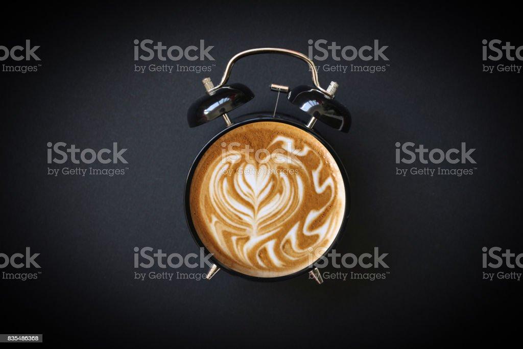 Hot Coffee Retro Alarm Clock stock photo