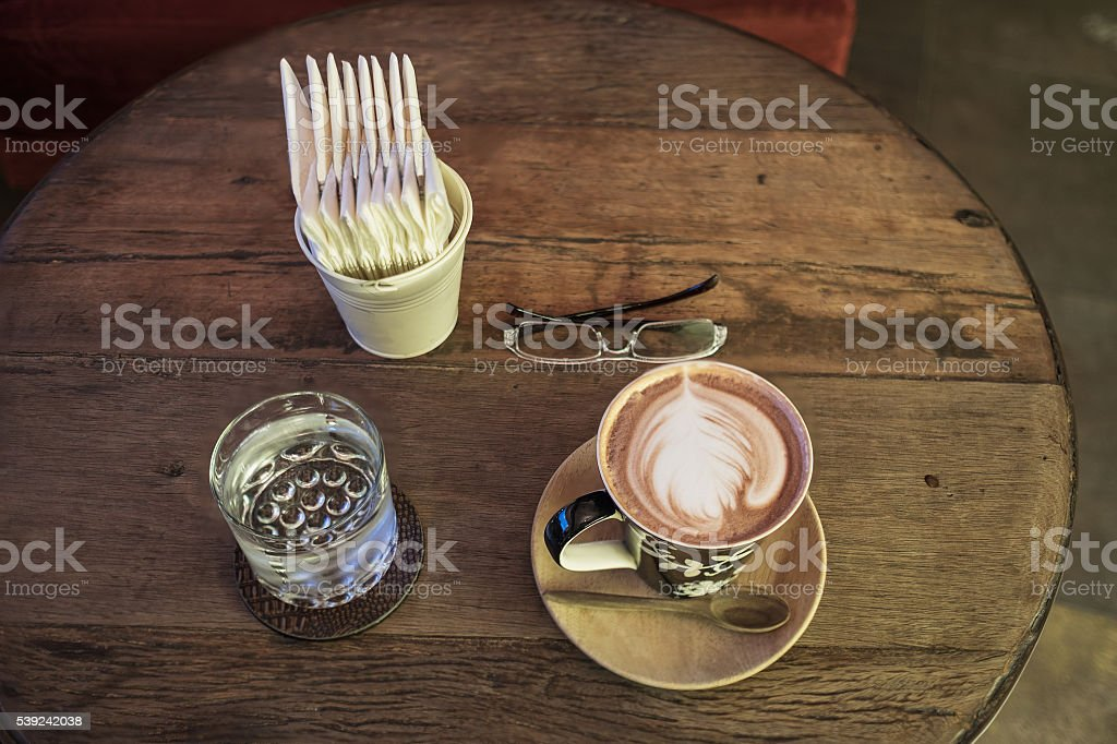 hot coffee water and tissue paper royalty-free stock photo