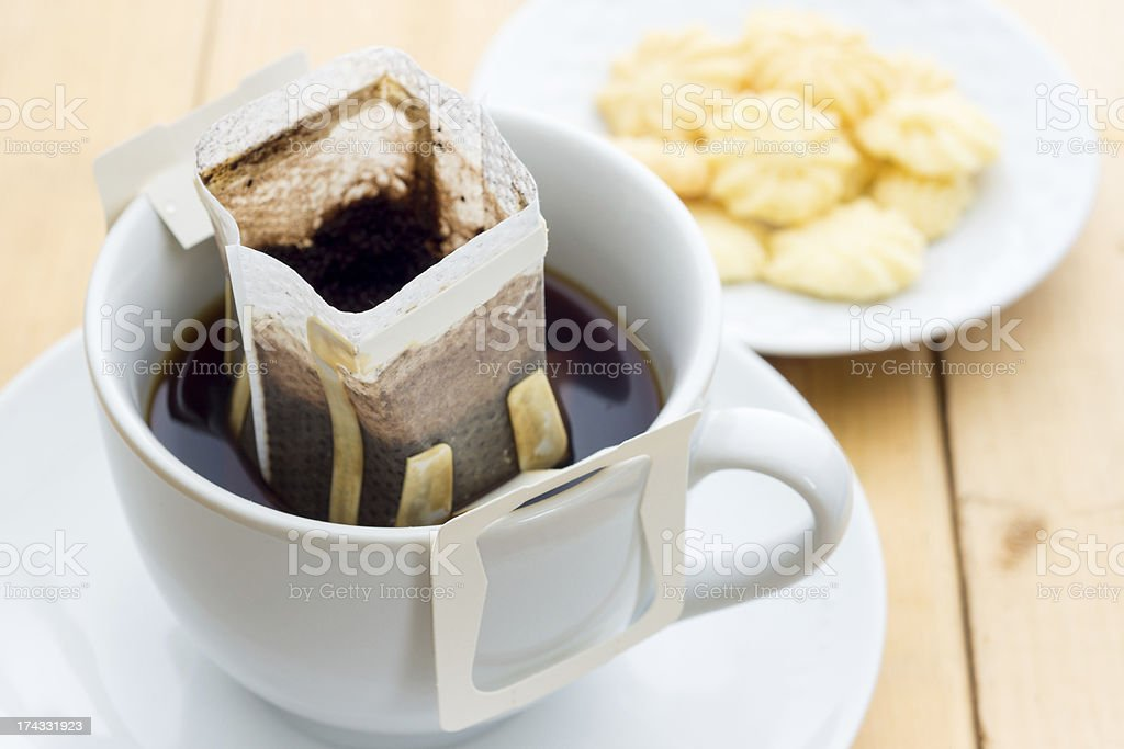 Hot coffee with butter cookies royalty-free stock photo