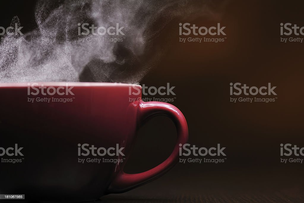 Hot coffee with steam stock photo