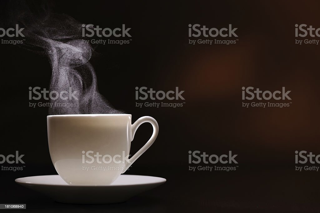 Hot coffee with steam royalty-free stock photo