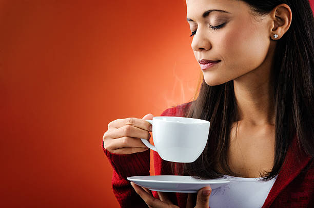 hot coffee woman stock photo
