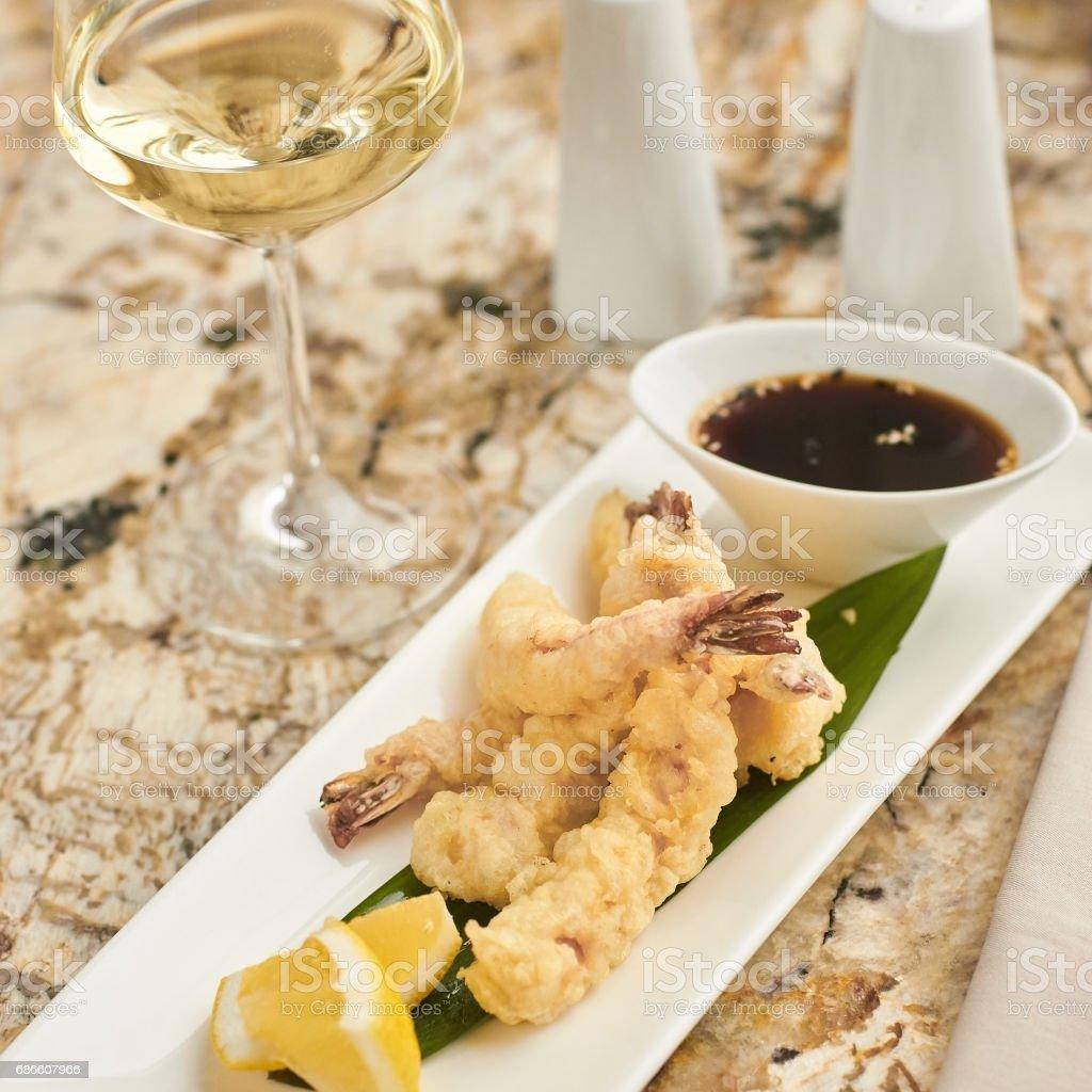 Hot crispy prawn tempura with sauce royalty-free stock photo