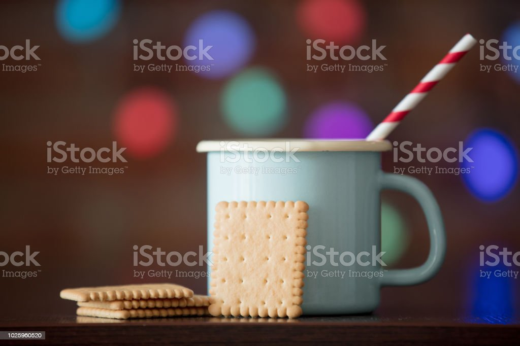 Hot cup of coffee and classic cookie stock photo