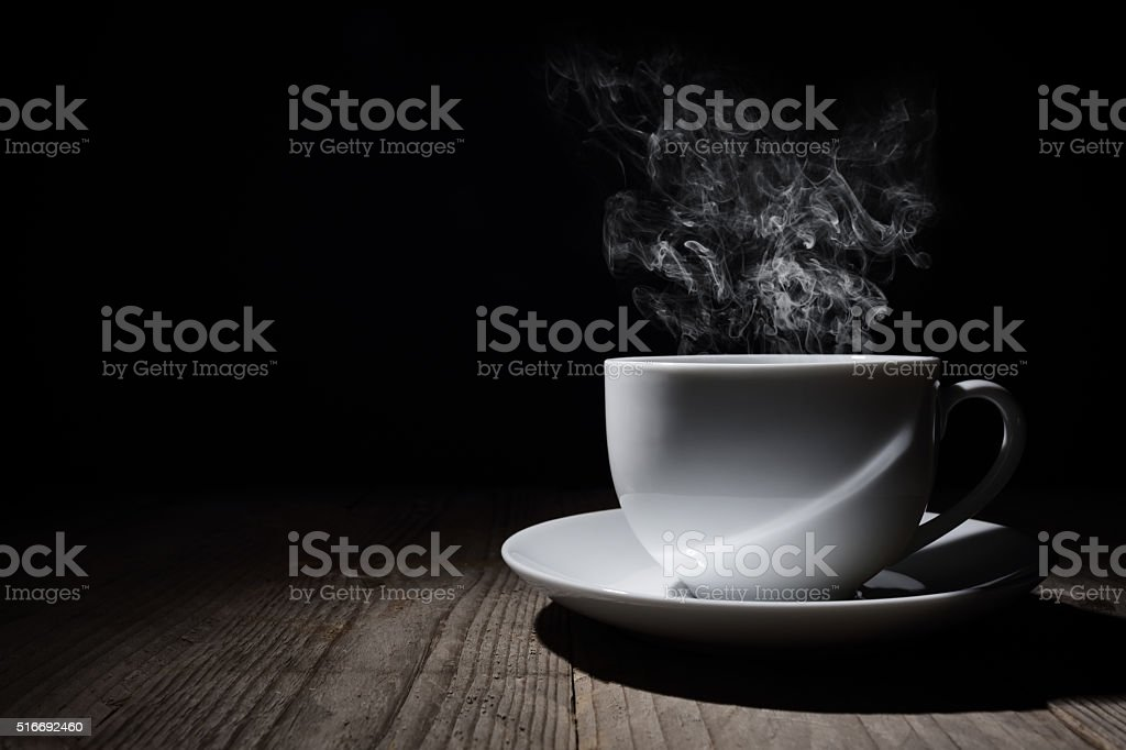 Hot cup of coffee or tea stock photo