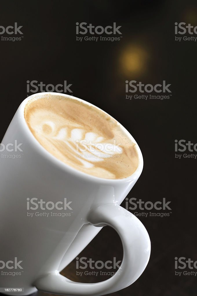 Hot Cup of Coffee with Latte Art royalty-free stock photo