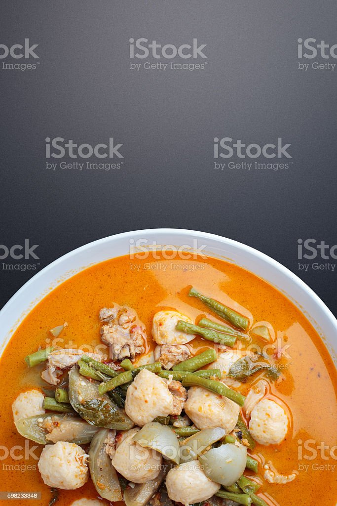 Hot curry with meat ball foto royalty-free