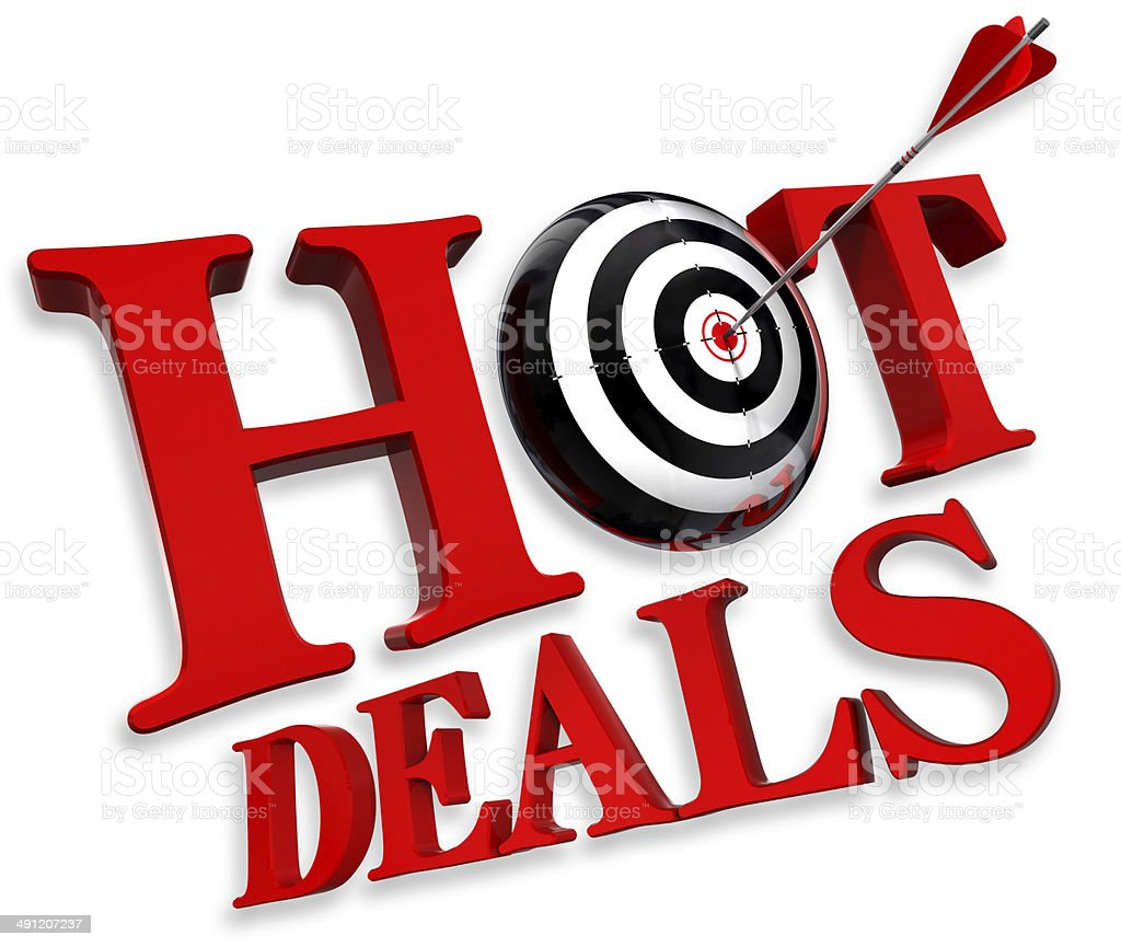 hot deals red logo stock photo