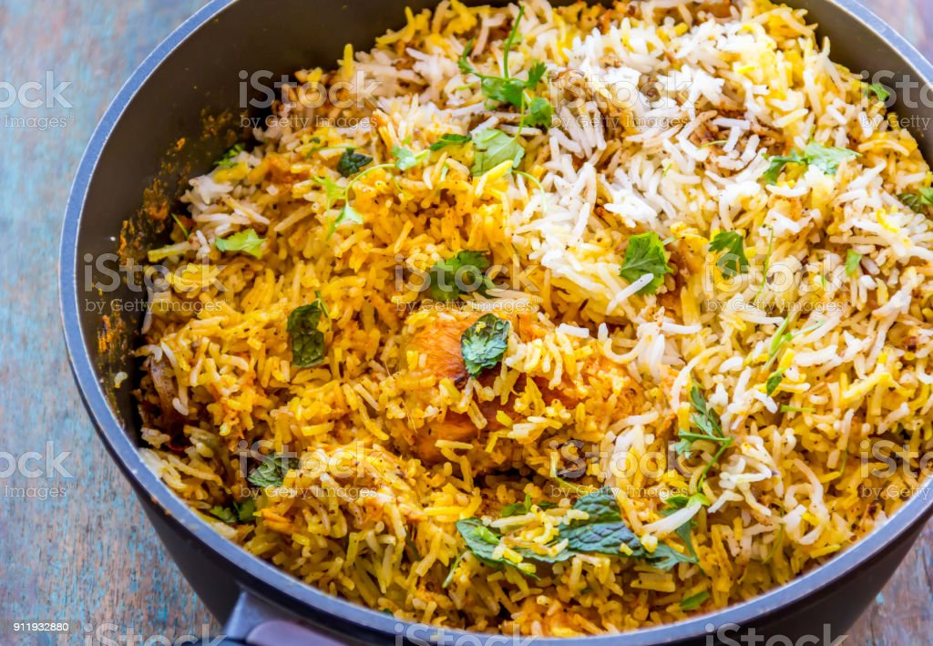 Hot & Delicious Chicken Biryani stock photo