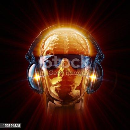 istock Hot DJ in sunglasses and earphones 155394828