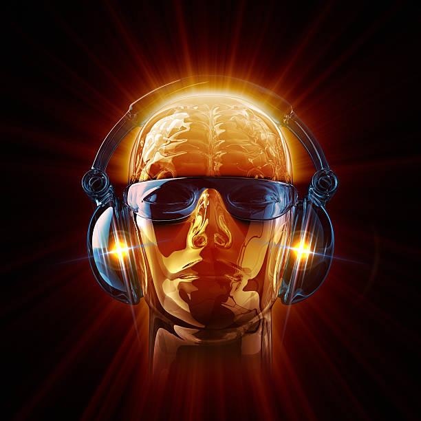 Hot DJ in sunglasses and earphones stock photo