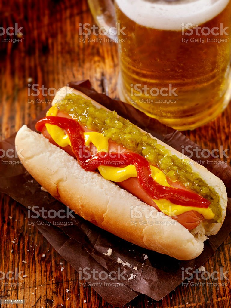 Hot Dog and a Beer stock photo