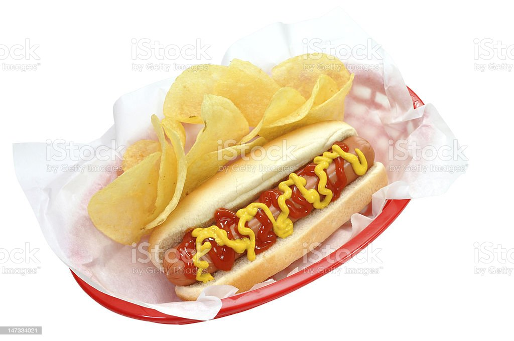 Hot Dog and Chips, Isolated withClipping Path royalty-free stock photo