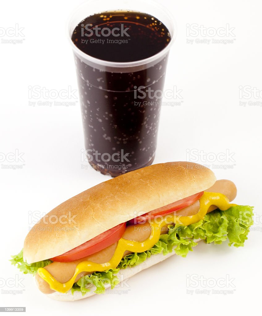 Hot Dog and drink royalty-free stock photo