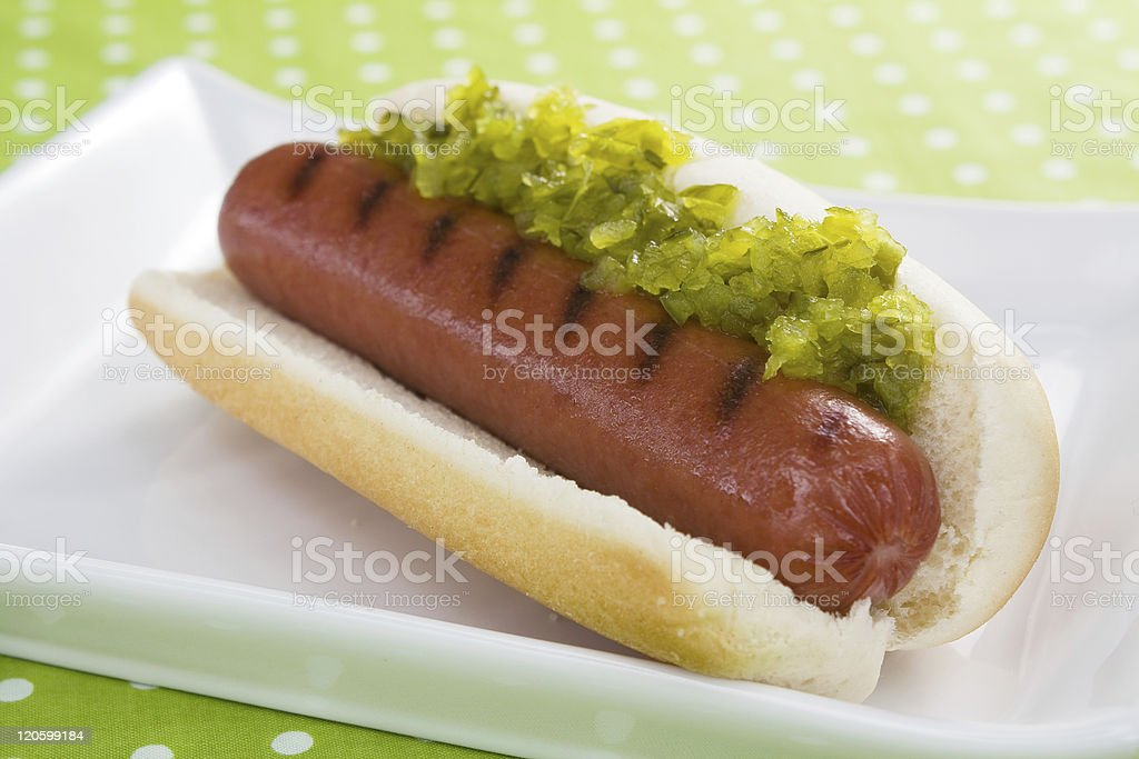Hot Dog and Relish stock photo