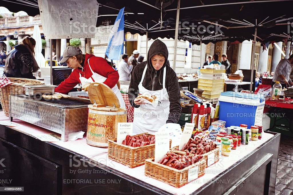 Hot Dog and Sandwiches Vendors, Covent Garden Market, London royalty-free stock photo