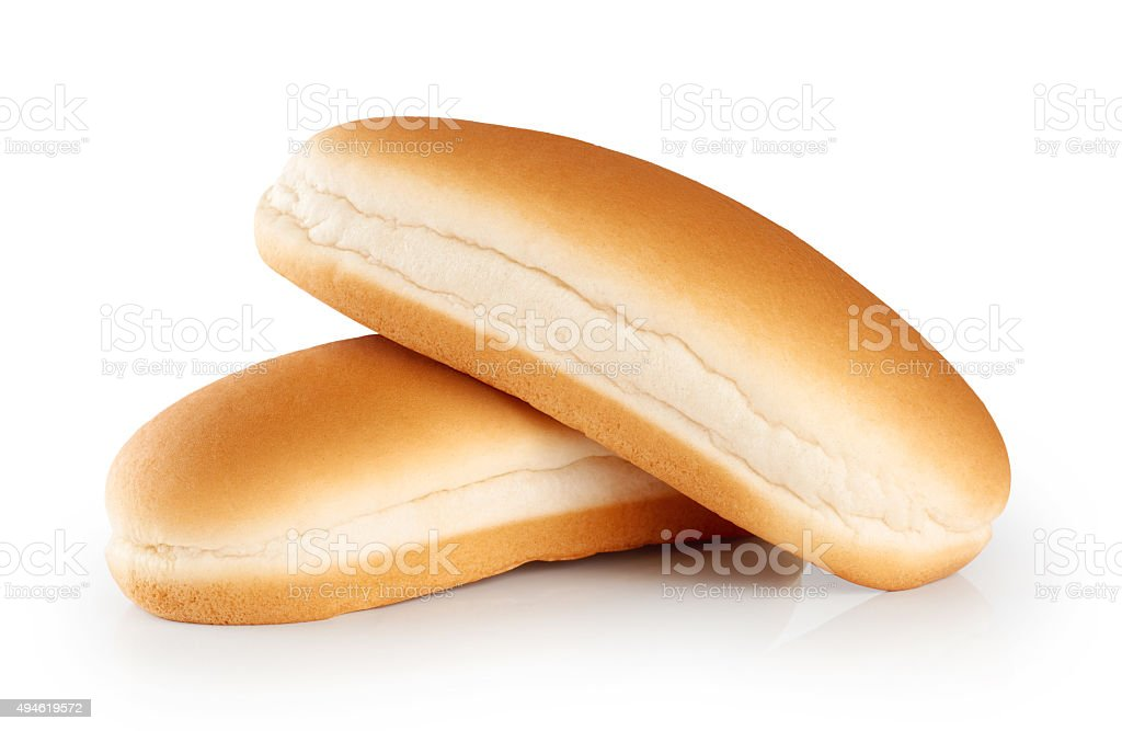 Hot dog buns  isolated on white background. stock photo