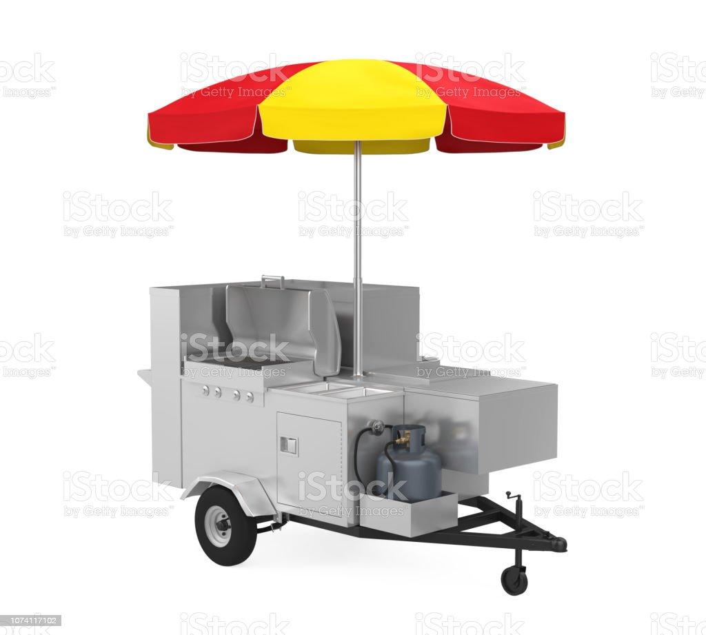 Hot Dog Vendor Cart Concession Umbrella Red /& White