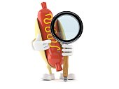 Hot dog character with magnifying glass