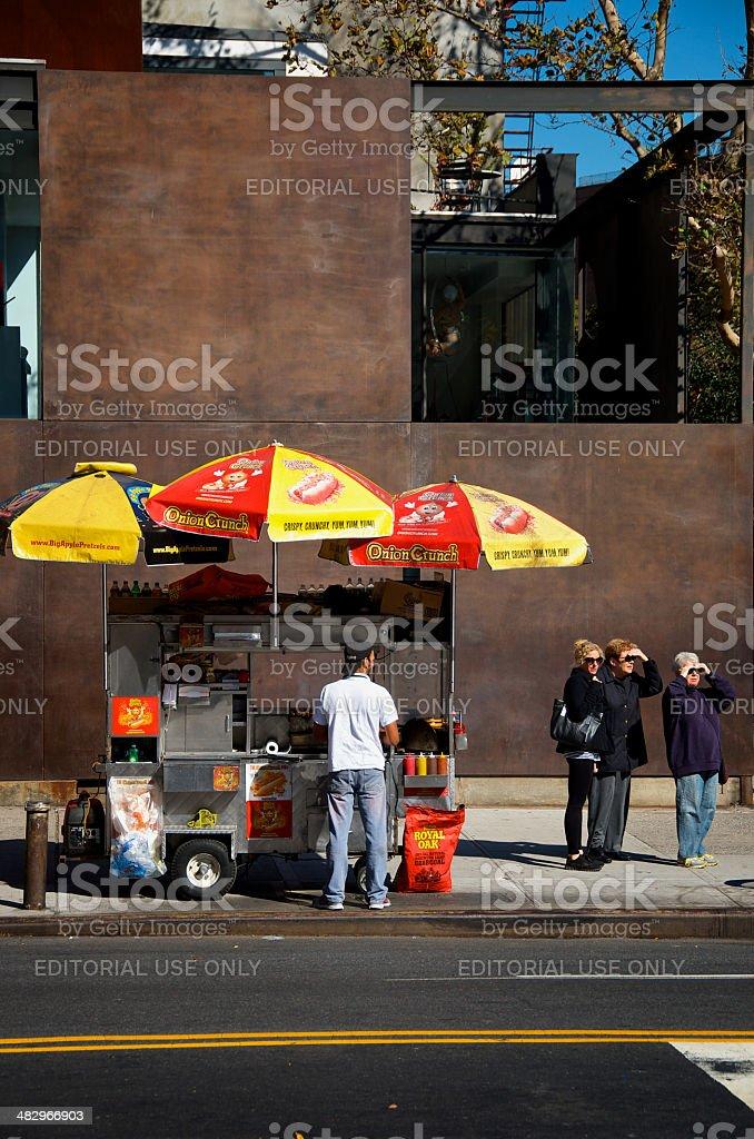 Hot Dog Fast Food Vendor & Cart, Chelsea, Manhattan, NYC royalty-free stock photo