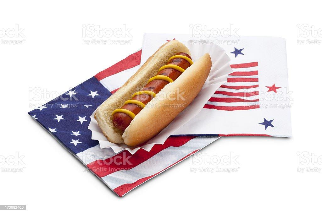 Hot Dog on Patriotic Napkins stock photo