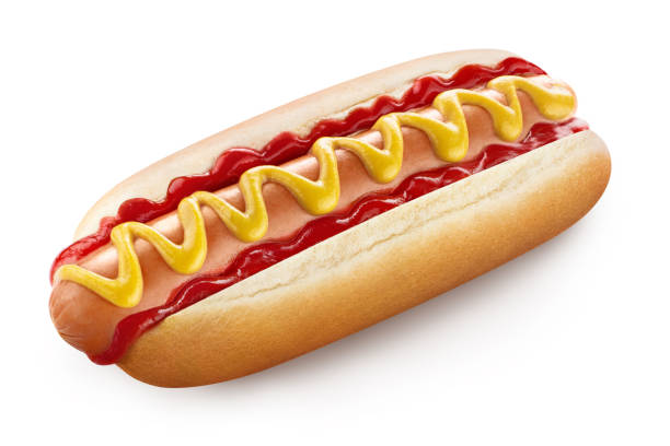 hot dog on white - hot dog stock pictures, royalty-free photos & images