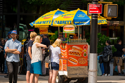 Hot Dog Stand Manhattan New York City Stock Photo - Download Image Now