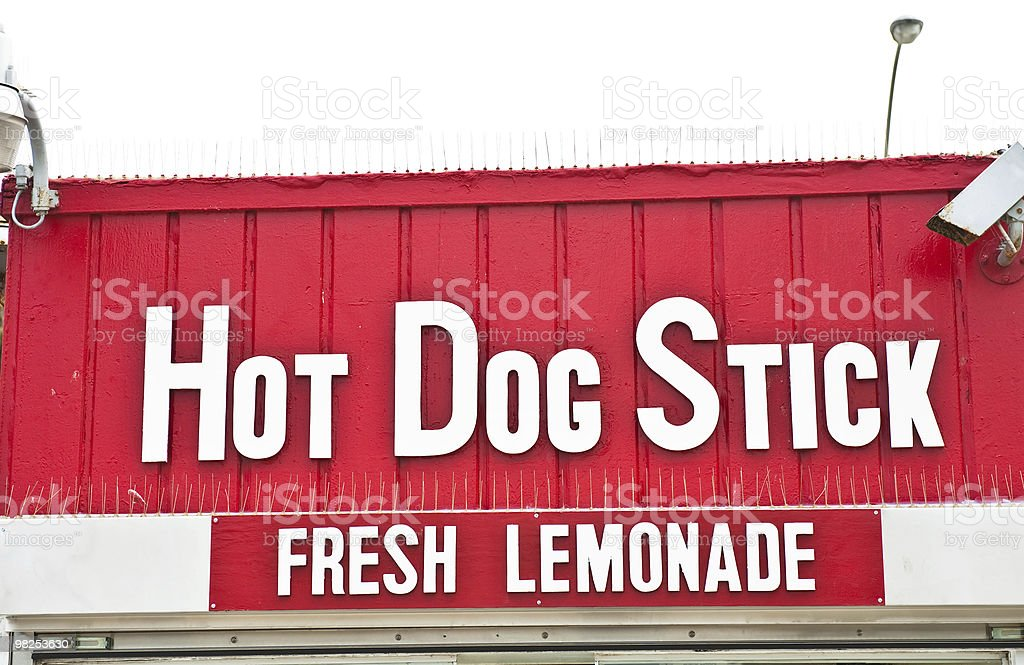 Hot Dog Stick and Lemonade Sign royalty-free stock photo