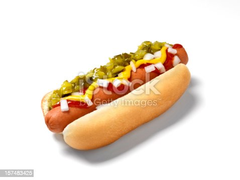 Hot Dog with Ketchup,Mustard,Relish and Onions - Photographed on Hasselblad Camera System