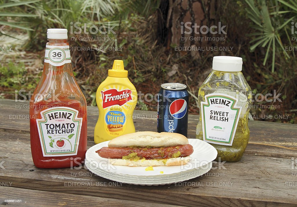 Hot dog with condiments on picnic table. stock photo