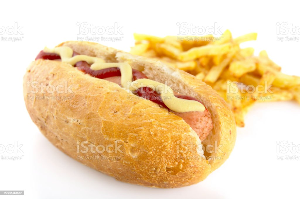 Hot dog with french fries isolated on white stock photo
