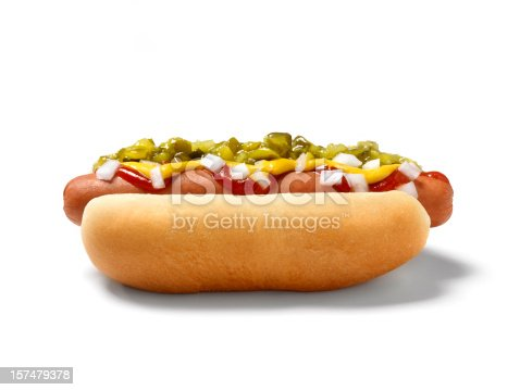 Hot Dog with Ketchup, Mustard, Relish and Onions - -Photographed on a Hasselblad H3D11-39 megapixel Camera System