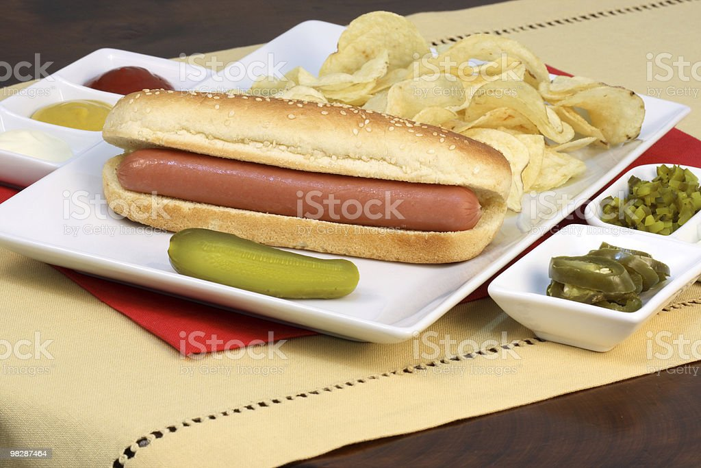 hot dog with kettle potato chips royalty-free stock photo