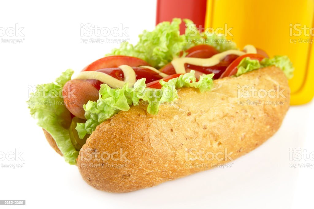 Hot dog with lettuce,tomatoes and cucumber on white background stock photo