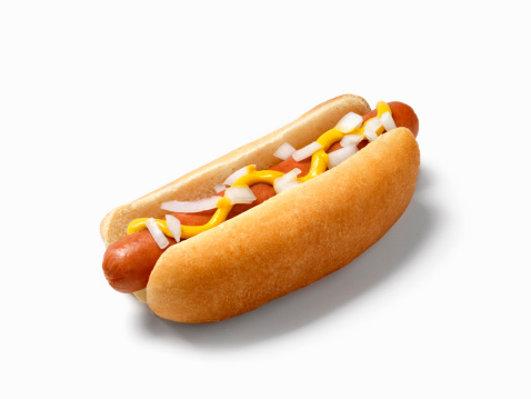 Hot Dog with Mustard and Onions -Photographed on a Hasselblad H3D11-39 megapixel Camera System