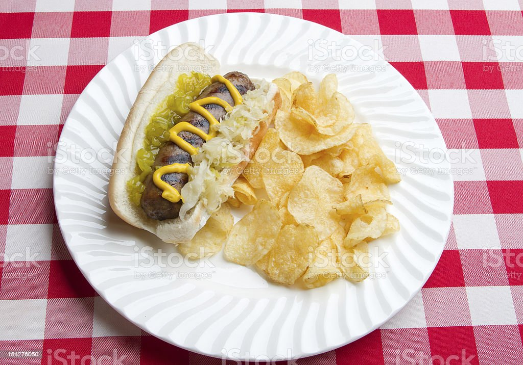 Hot dog with mustard and relish royalty-free stock photo