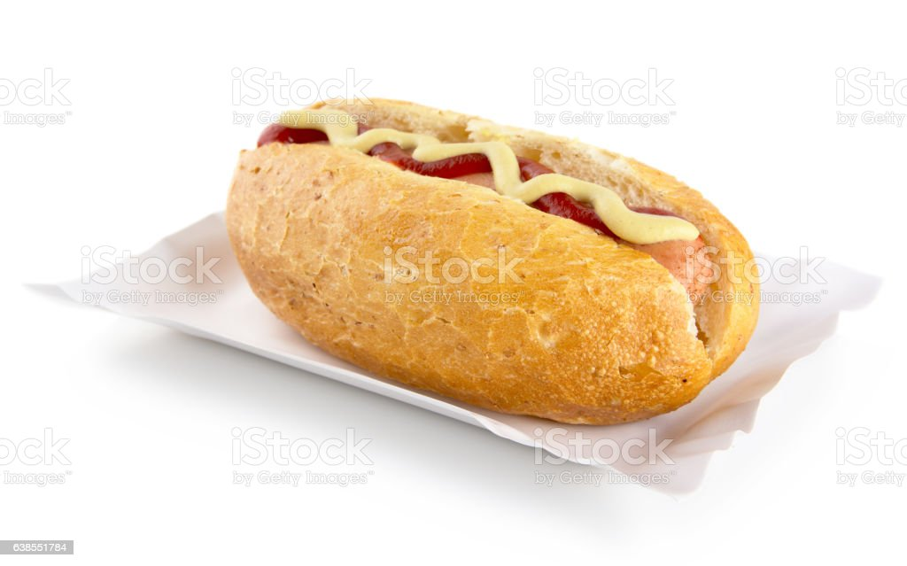 Hot dog with mustard, ketchup in tray isolated on white stock photo