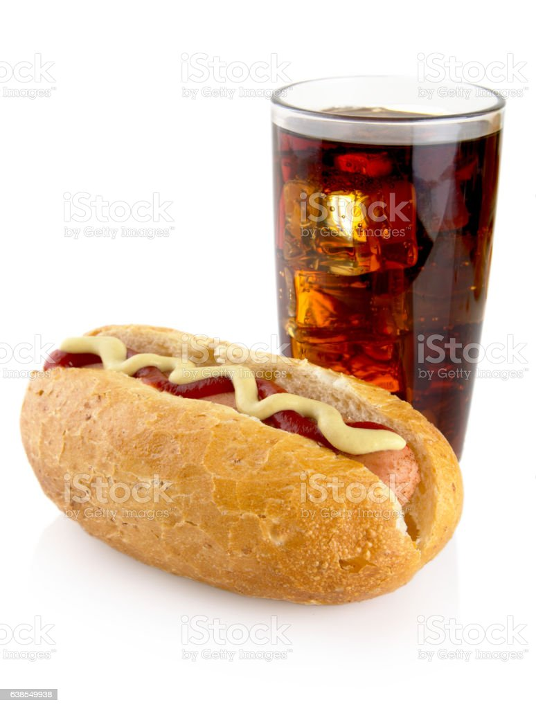 Hot dog with mustard,ketchup and cola isolated on white stock photo