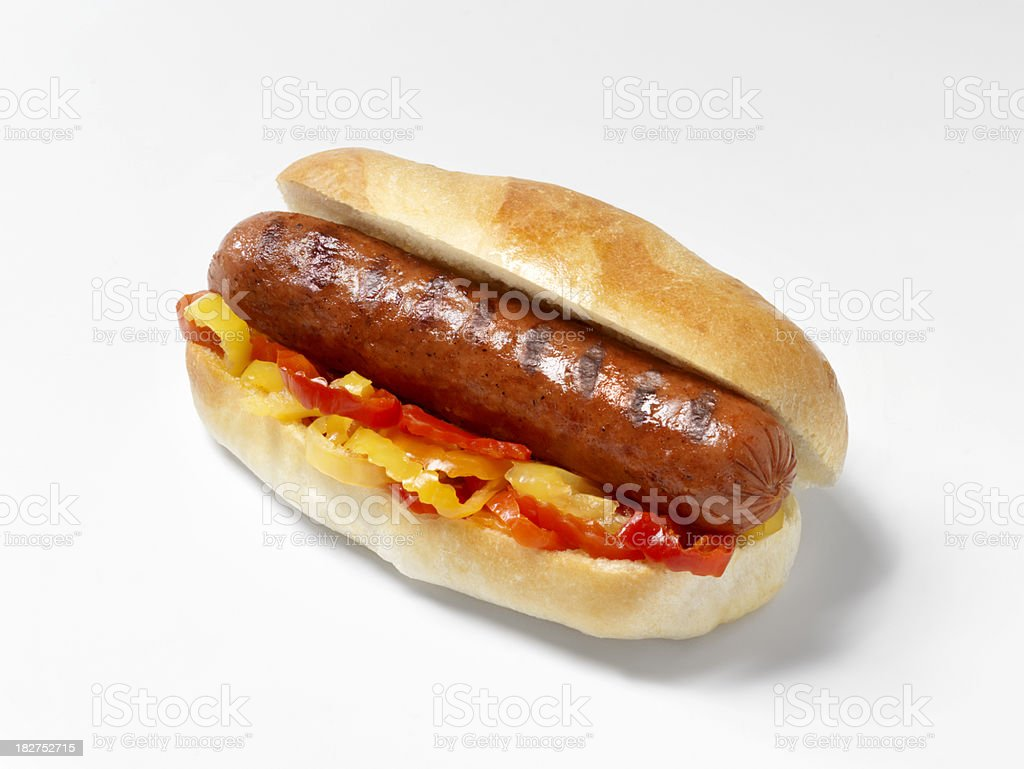 Hot Dog with Peppers royalty-free stock photo