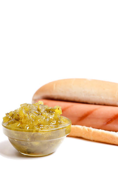 Hot Dog with Pickle Relish stock photo