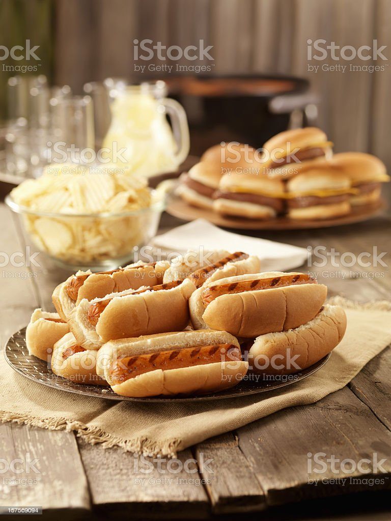 BBQ Hot Dogs at a Picnic stock photo