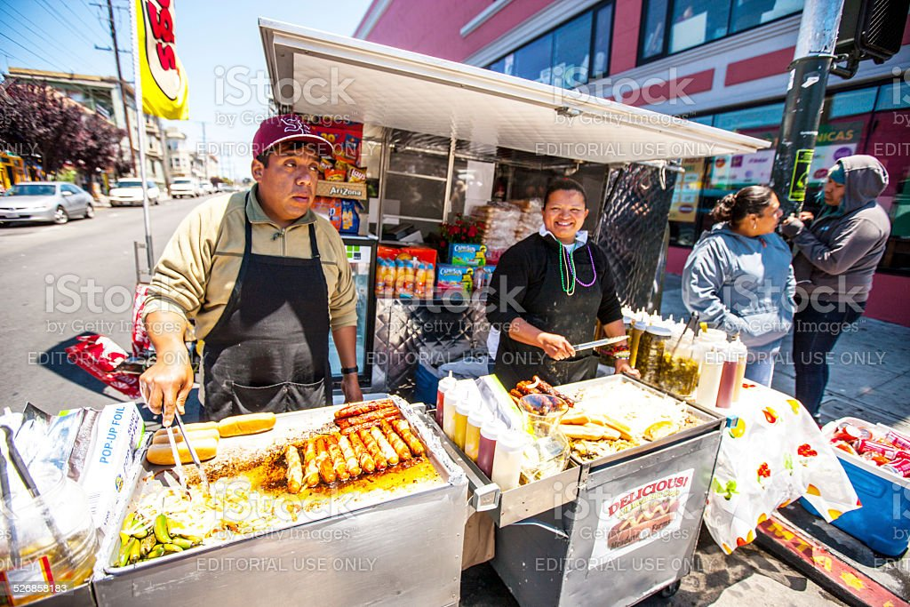 Hot dogs cooked outdoors during Carnaval Festival, San Francisco stock photo