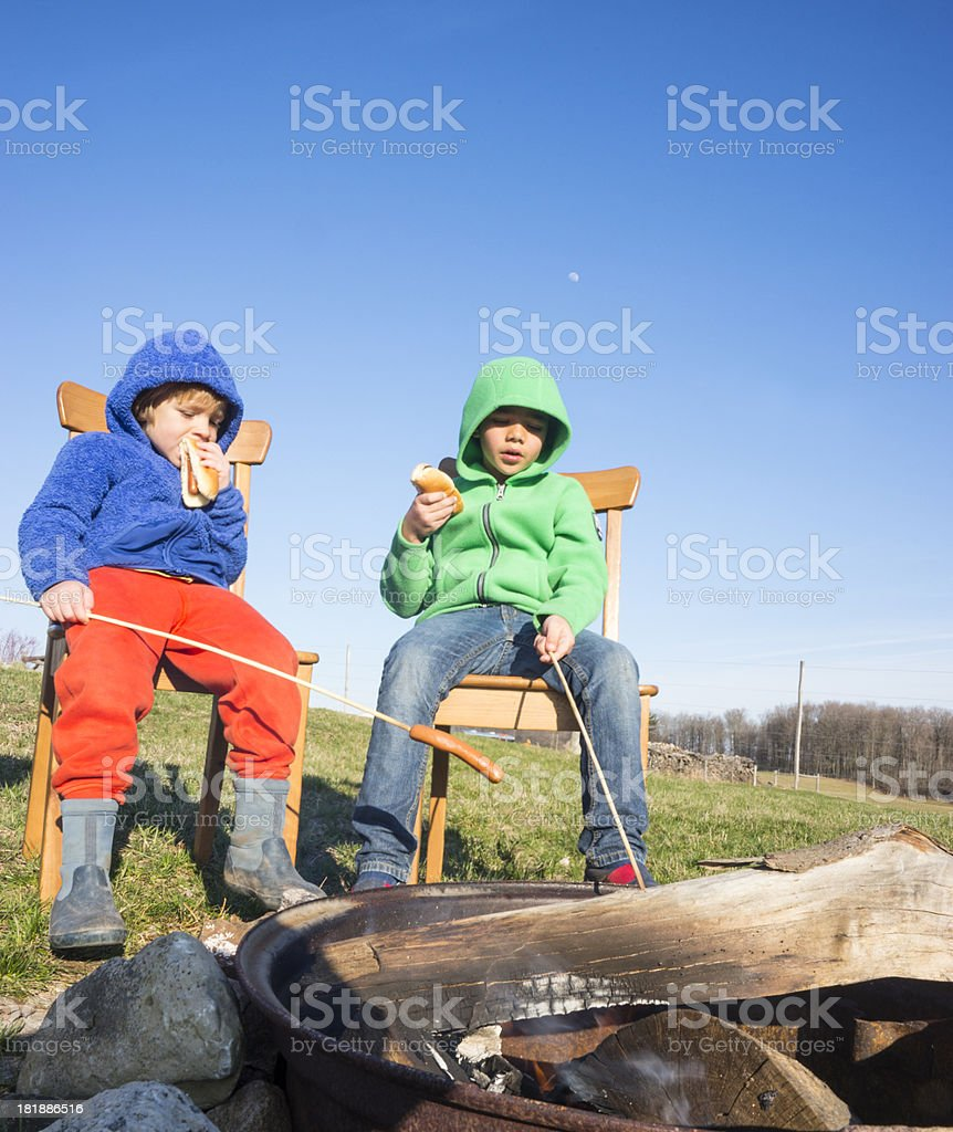 Hot dogs outside by the fire royalty-free stock photo